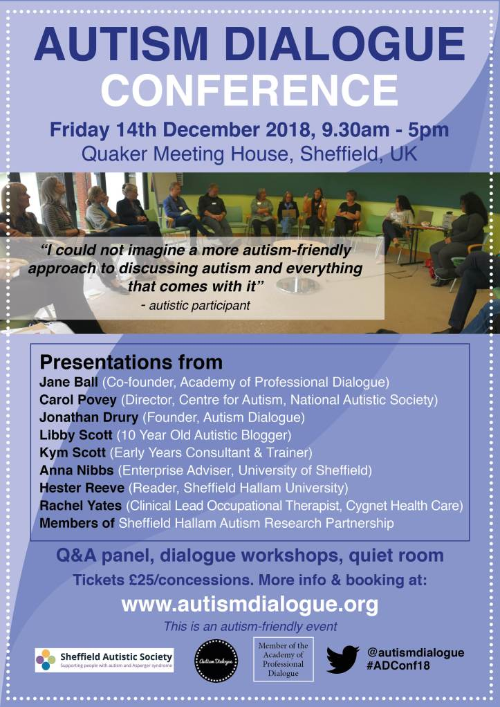 AUTISM DIALOGUE CONFERENCE POSTER - DECEMBER 14TH QUAKER MEETING HOUSE SHEFFIELD